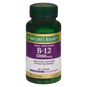Nature's Bounty Dual Spectrum B-12 5000mcg Energy Support, Tablets, 30 ea