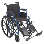 Drive Medical Wheelchair with Flip Back Desk Arms and Elevating Leg Rests, Blue Streak, 20 Inch Seat- 1 ea