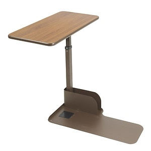 Drive Medical Seat Lift Chair Right Side Overbed Table, Walnut- 1 ea