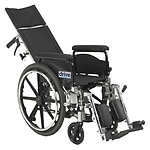 Drive Medical Viper Plus GT Reclining Wheelchair with Full Arms, Black, 18 Inch Seat- 1 ea