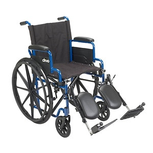 Drive Medical Wheelchair with Flip Back Desk Arms and Elevating Leg Rests, Blue, 18 Inch Seat