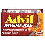 Advil Migraine Solubilized Ibuprofen, 200 mg, Liquid Filled Capsules- 80 ea