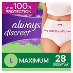 Always Discreet Incontinence Underwear, Maximum Absorbency, Large- 28 ea