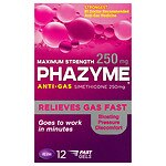 Phazyme Maximum Strength 250mg Anti-Gas Simethicone Soft Gels