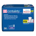 Walgreens Certainty Contoured Pads for Women, Ultimate Extra Protection, Overnight Absorption- 30 ea
