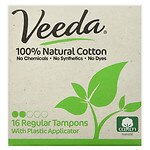 Veeda 100% Natural Cotton Applicator Tampons, Regular- 16 ea