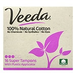 Veeda 100% Natural Cotton Applicator Tampons, Super