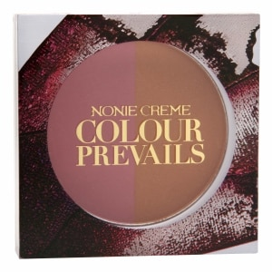 Nonie Creme Colour Prevails Bashful Biscuit Blush / Bronzer Duo, Rosewood (Dark Pink)