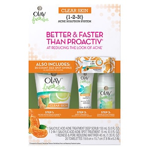 Olay Fresh Effects Clear Skin 1-2-3 Acne Solution System with Wet