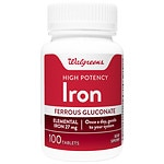 Walgreens High Potency Iron Ferrous Gluconate 27mg, Tablets- 100 ea