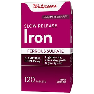 Walgreens Iron Slow Release High Potency Ferrous Sulfate 45mg,