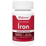 Walgreens High-Potency Iron 65mg, Ferrous Sulfate 325mg, Tablets- 100 EA