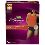 Depend Silhouette Active Fit Incontinence Briefs for Women, Moderate Absorbency, Black, Large/Extra Large- 56 ea