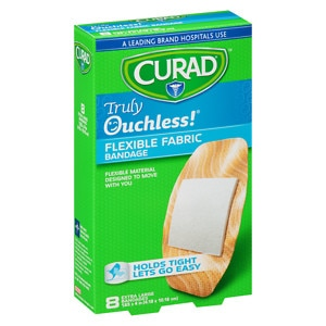 Curad Truly Ouchless Flexible Fabric Bandage, Extra Large 1.65 x 4 inch (4.19 x 10.16 cm)