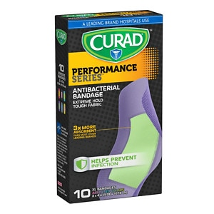 Curad Performance Series Antibacterial Bandages, Assorted Colors, XL, 2 x 4 inch (5.08 x 10.16 cm)