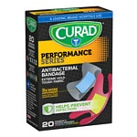 Curad Performance Series Antibacterial Bandages, Assorted Colors, Fingertip & Knuckle, Assorted Sizes- 20 ea