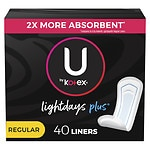 U by Kotex Curves Pantiliners, Unscented, Regular- 40 ea