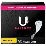 U by Kotex Curves Pantiliners, Unscented, Regular- 40 ea