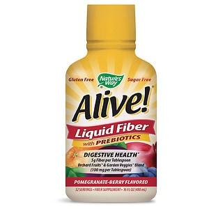 Nature's Way Alive! Liquid Fiber with Prebiotics, Pomegranate-Berry- 16 oz