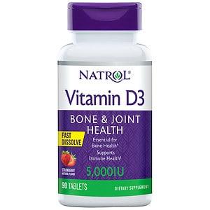 Natrol Vitamin D3 5,000IU Fast Dissolve, Strawberry- 90 ea