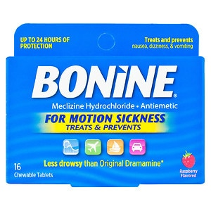 Bonine Chewable Tablets for Motion Sickness, Raspberry