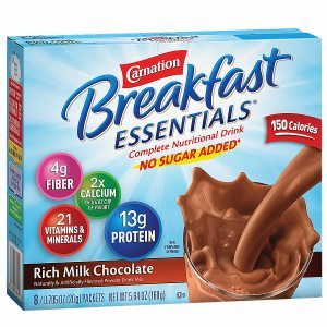 Carnation Breakfast Essentials Complete Nutritional Drink, No Sugar Added, Packets, Rich Milk Chocolate, 8 pk- .7 oz