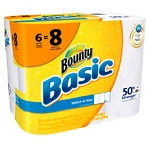 Bounty Basic Select A Size Paper Towels, 6 Big Rolls- 570 sh