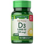 Nature's Truth High Potency Vitamin D3 5000 IU- 130 ea