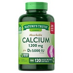 Nature's Truth Absorbable Calcium 1200mg Plus D3 5000 IU, Softgels- 120 ea