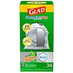 Glad Forceflex Tall Kitchen Trash Bags 13 Gallon, Gain Original- 34 ea