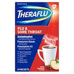 TheraFlu Flu & Sore Throat Powder, Apple Cinnamon- 6 ea