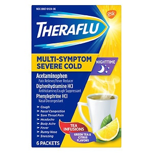 TheraFlu Nighttime Multi Symptom Severe Cold, Lipton Green Tea &