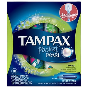 Tampax Pocket Pearl Compact Plastic Tampons, Unscented, Super