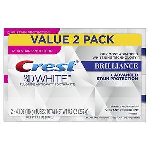 Crest 3D White Brilliance Toothpaste, Mint, 2 pk