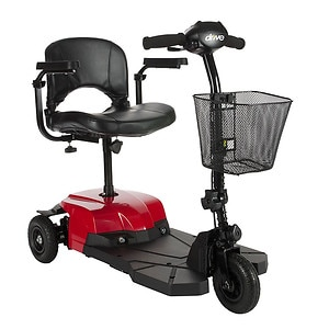 Drive Medical Bobcat X3 Compact Transportable Power Mobility Scooter, Red, 3 Wheel