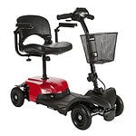 Drive Medical Bobcat X4 Compact Transportable Power Mobility Scooter, Red, 4 Wheel- 1 ea