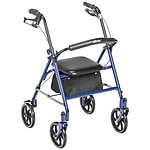 Drive Medical Four Wheel Walker Rollator with Fold Up Removable Back Support, Blue- 1 ea