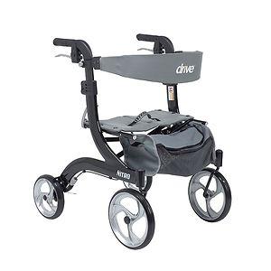 Drive Medical Nitro Euro Style Walker Rollator, Hemi Height, Black