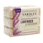 Yardley of London Nourishing Elements Natural Artisan  Bar Soap, Lavender Rosemary- 3 ea