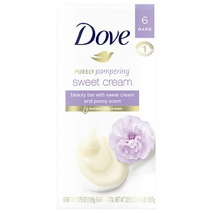 Dove Purely Pampering Beauty Bar, Sweet Cream and Peony, 6 Bar, 4 oz