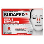 Sudafed PE Sinus Congestion Max Strength Non-Drowsy Tablets- 36 ea