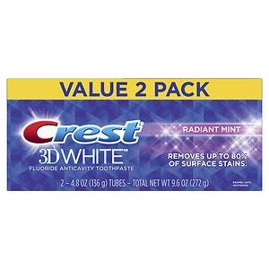 Crest 3D White Toothpaste, Radiant Mint, 2 pk