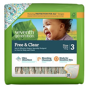 Seventh Generation Free & Clear Sensitive Skin Baby Diapers,