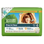 Seventh Generation Free & Clear Sensitive Skin Baby Diapers, Value Pack, Animal Prints, Stage 6, 35+ lbs, 5pk- 20 ea