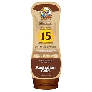 Australian Gold Sunscreen Lotion with Kona Bronzer, SPF 15, Tropical