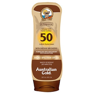 Australian Gold Sunscreen Lotion with Kona Bronzer, SPF 50,