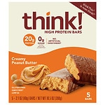 thinkThin High Protein Bars, Creamy Peanut Butter, 5 pk- 2.1 oz