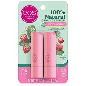 eos Lip Balm Stick, Strawberry Sorbet, 2pk
