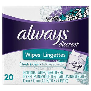Always Discreet Wipes-to-Go, Fresh & Clean