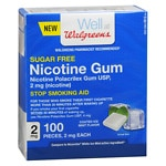 Walgreens Nicotine Coated Gum 2 mg, Mint- 100 ea